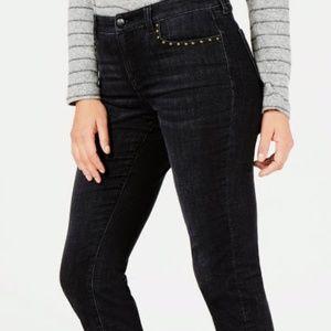 Studded Skinny Ankle Jeans, Black, Sz 14 NWT  TA18
